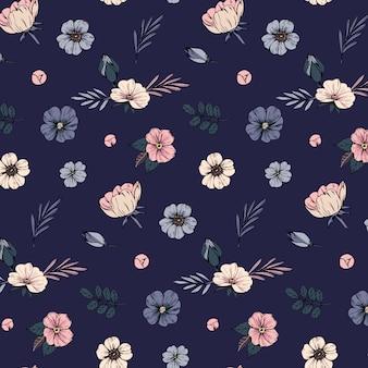 Бесшовный фон с цветами