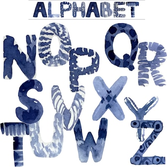 水彩画はアルファベットを塗った
