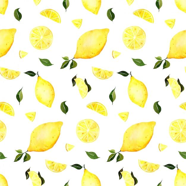 シームレスな水彩レモンパターン
