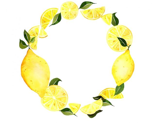 レモンの水彩画の花輪。