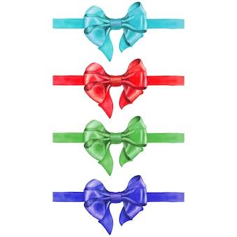 白で隔離される水彩画の弓