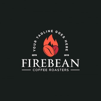 コーヒー豆と素朴なスタイルのロゴのテンプレートと火