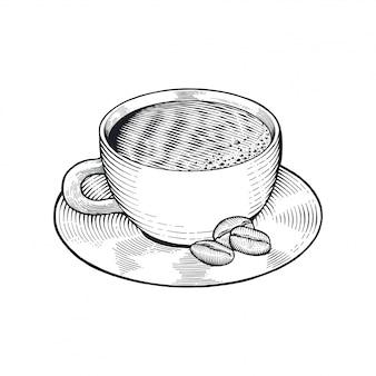 豆の描画とコーヒーカップ