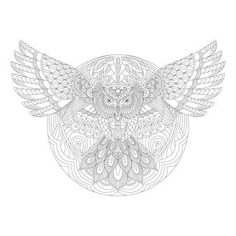 ラインアートのベクトルにマンダラスタイルのフクロウ