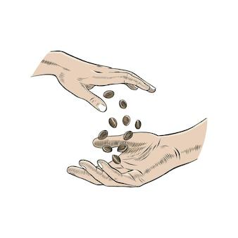 Семя конопли, дающее шаблон логотипа
