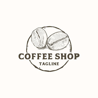 コーヒーショップのロゴデザインの素朴な手描きのコーヒー豆