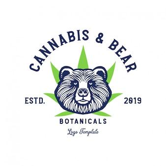 クマと大麻葉のロゴのテンプレート