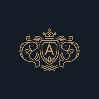 王冠ロゴ付き紋章魚