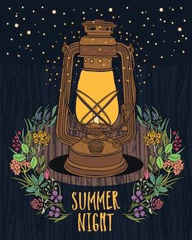 夏の夜の空夜のフライを持つヴィンテージランプ