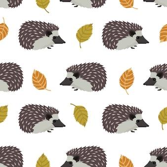野生動物のコレクションヘッジホッグと葉シームレスなパターン