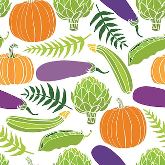 新鮮な野菜のシームレスな背景、カボチャ、エンドウ豆、アーティチョーク