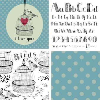 手描きのアルファベットと鳥