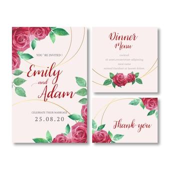 ロマンチックな葉を持つ結婚式の招待状