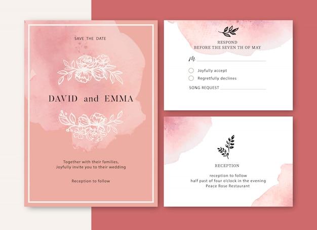 葉との結婚式の招待状ロマンチックで創造的な花の水彩画