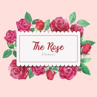 水彩バラの花カード