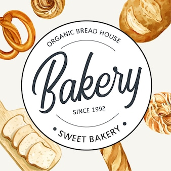 Логотип символ пекарня шаблон.