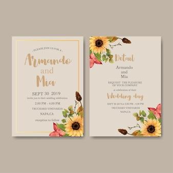 カボチャをテーマにした結婚式招待状水彩