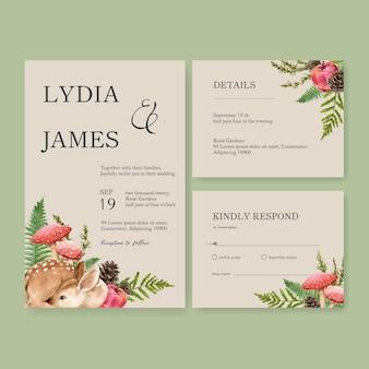 結婚式の招待状の水彩画