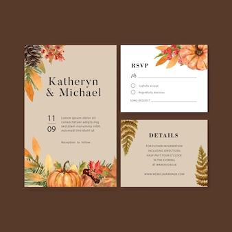 美しい秋をテーマにした結婚式招待状水彩