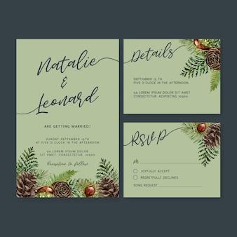 クールな秋をテーマにした結婚式招待状水彩