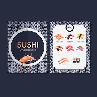 レストランの寿司セットメニュー。