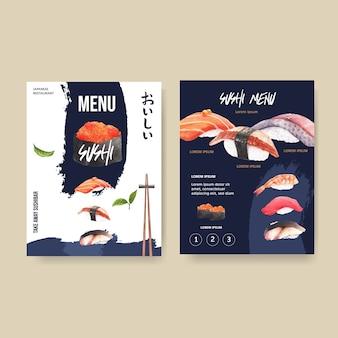 レストランの寿司メニュー。