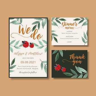 コントラスト葉を持つ結婚式招待状水彩画。