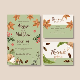 パステルカラーの秋の結婚式招待状水彩画