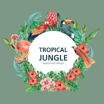 Тропический венок вихревого лета с листвой растений экзотического шаблона