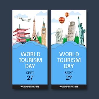 マーライオン、時計塔、ピサの斜塔を備えた観光チラシデザイン。