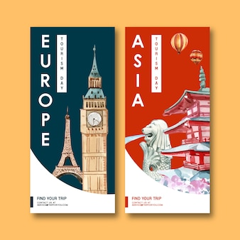 アイフェル、時計塔、マーライオン、忠霊塔を備えた観光チラシデザイン。