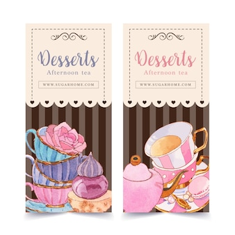 ティーポット、カップケーキ、創造的な要素の水彩イラストのデザートチラシデザイン。