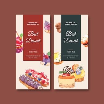 Дизайн рогульки десерта с пирожным, печеньем, кислой иллюстрацией торта изолированной акварелью.
