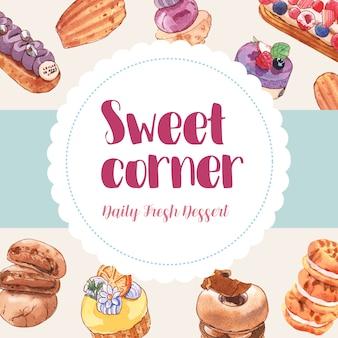 カップケーキ、クッキー、ドーナツの水彩イラストとデザートフレームデザイン。