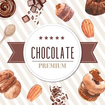 チョコレートバー、クッキー、ドーナツ、ケーキの水彩イラストのデザートフレームデザイン。