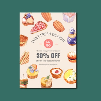 チーズケーキ、サンドイッチ、マドレーヌ、レモンタルトの水彩イラストのデザートポスターデザイン。