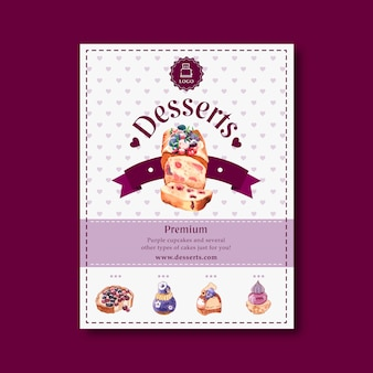 フルーツケーキ、ベリー、ブルーベリー、花の水彩イラストのデザートチラシデザイン。