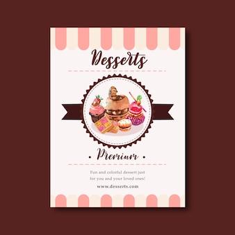 チョコレートケーキ、クッキー、カップケーキ、カスタードクリームの水彩イラストのデザートチラシデザイン。