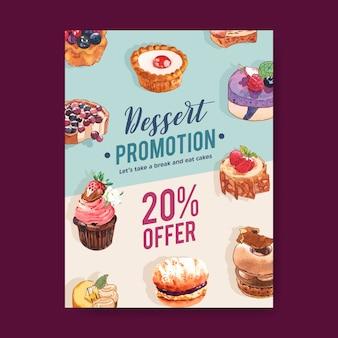 ムースケーキ、タルト、カップケーキ、レモンタルトの水彩イラストとデザートチラシデザイン。