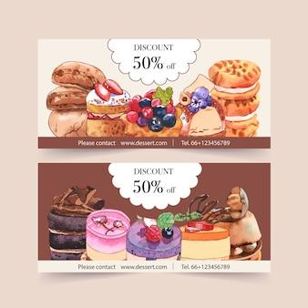 カップケーキ、クッキー、クリームの水彩イラストのデザート券デザイン。