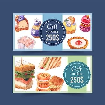 カップケーキ、サンドイッチ、シュークリームの水彩イラストのデザート券デザイン。