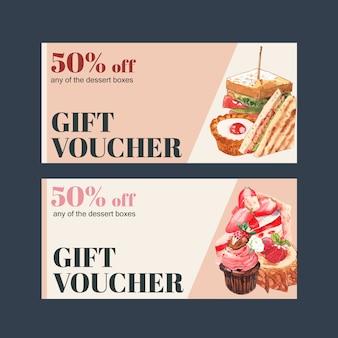 サンドイッチ、タルト、ストロベリーケーキの水彩イラストのデザート券デザイン。