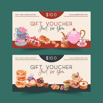 ティーポット、シュークリーム、クッキー、マカロンの水彩イラストのデザート券デザイン。