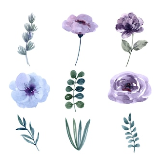 花の結婚式の要素のデザインの水彩画