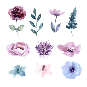 花の結婚式の水彩デザイン要素
