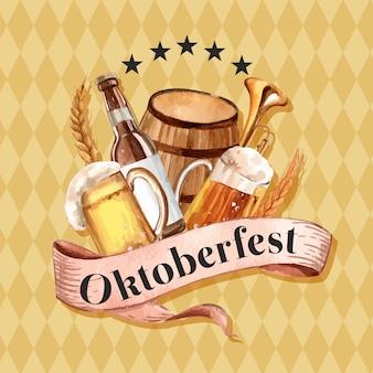 ビール、飲料、醸造所、大麦、アルコールデザインのオクトーバーフェスト