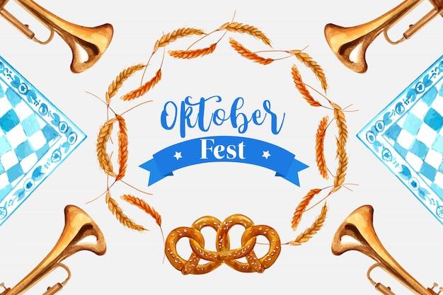 オクトーバーフェストバナーの小麦、大麦、プレッツェルのフレームデザイン