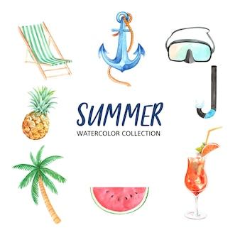 水彩、創造的な夏テーマベクトルイラストのデザイン要素。