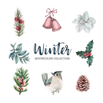 冬をテーマにした水彩デザイン要素