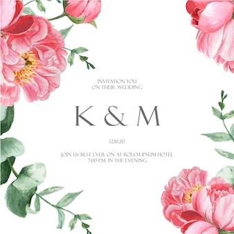 ピンクの牡丹咲く花植物水彩画ウェディングカード花アクワレル